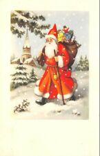 CPA fantaisie - Père Noel et sa hotte paysage