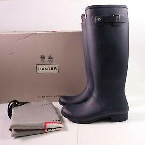 Size 8 Women's Hunter Original Tour Foldable Tall Rain Boots WFT1026RMA Navy