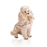 Crystal Metal Handmade Poodle Figurines Trinket BoxesJewelry Wedding Lady Gifts