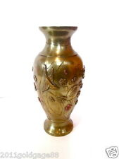 ANTIQUE OREANTAL BRONZE VASE WITH APPLIED DECORATION.BEAUTIFUL