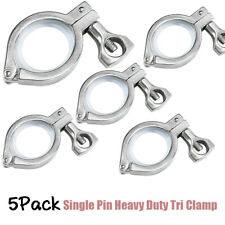 5pcs 15 Inch Tri Clamp Ss304 Single Pin Heavy Duty Tri Clamp With 5pcs Gasket