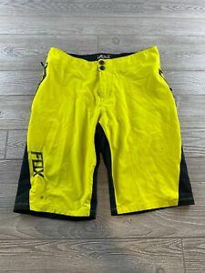 Men's FOX Biking riding shorts- SIZE 32 neon yellow riding / casual shorts