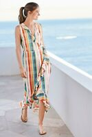 NEXT Multi Stripe Frill Detail Midi Wrap Dress Size 14 BNWT RRP £36 Holiday