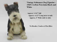 Vintage Schnauzer Dog Figurine - 1960's Lefton Porcelain - Black/White Coloring