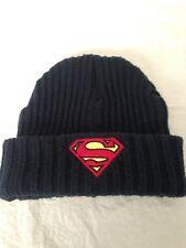 Free Authority Dark Blue SUPERMAN LOGO KNIT CUFF BENIE One Size EUC
