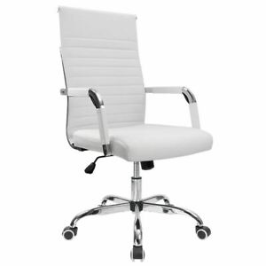 Walnew Mid-Back Ribbed Office Chair with PU Leather,White