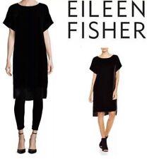 Eileen Fisher NWOT Black Velvet Bateau Neck Hi Low Tunic Dress Size Medium