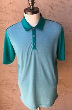 Adidas Climachill Turquoise Green Striped Extra-Large XL Golf Shirt