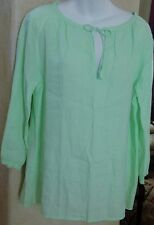 EILEEN FISHER Pale Leaf Green (PLLEF) Organic Linen Tie Blouse Top MED NWT $178