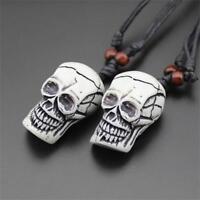 Brown Skull Head Imitation Yak Bone Necklace Amulet Carved Skeleton Pendant