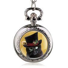 women black cat art necklace pendant pocket watch silver tone vintage style