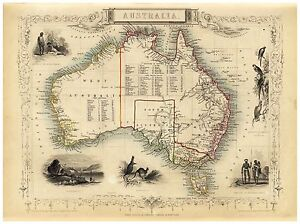 Old Vintage Map of Australia richly illustrated Tallis 1851