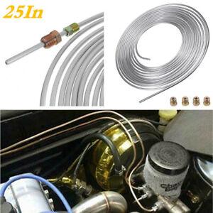 25FT Roll Coil 3/16In Iron Zinc Nickel Car Brake Line Tubing Kit +16Pcs Fittings