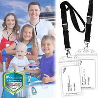 2x Durable Resealable Universal Cruise ID Badge Card Tag Pouch Holder Lanyard
