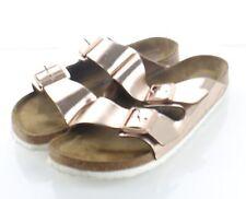 06-13 $135 Women's Sz 10 N Birkenstock Arizona Metallic Leather Footbed Sandal