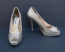 Steve Madden P-Kelle Gold Glitter Peep-Toe Platform High-Heel Pump Women's Sz 7