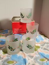 Set Of 4 Cerve Frosted Holly Holiday Dof Glasses Italy Made Christmas Theme