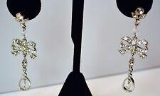 Vintage bow chandelier earrings silver Tone