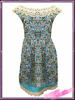 Ladies Plus Size Blue Floral Dress with Lace Neckline UK 16 18 Womens Dresses