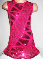 GIRLS 60s STYLE CERISE PINK SPARKLING SEQUIN DISCO DANCE PARTY DRESS age 3-4