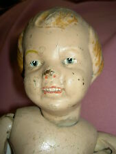 """Schoenhut jointed wood CARVED HAIR doll w/blue bow """"Transitional Model"""" 16/101"""