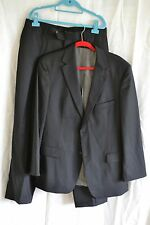 "Hugo Boss Mens 2 Button 42S Coat/ 34""x29"" Pants Black Pencil Striped Suit"