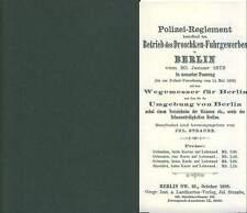 Berlin 1888 Droschken Polizei Reglement Droschke Fuhrgewerbe Stadtplan Preußen