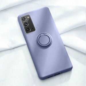 For Samsung Galaxy S21 S20 A72 A52 A32 Liquid Silicone Magnetic Ring Case Cover