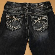 SILVER Jeans SUKI Bootcut 26x34 Darker Blue Distressed  *Mint LN*  081717