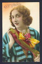 Carte Postale de 1925 Rétro Art Déco 1er AVRIL POISSON d'AVRIL April Fool day