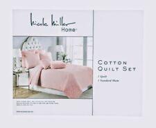 3 piece Nicole Miller Farmhouse Cotton Quilt Set 2 Shams Blush Pink Mauve Queen