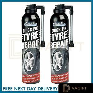 2 x Instant Fix Seals Car Bike Emergency Flat Tyre Inflate Puncher Repair Kit