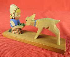 Vintage Wood Carving Carved Dutch Girl Feeding Deer Sheep Expertic, East Germany