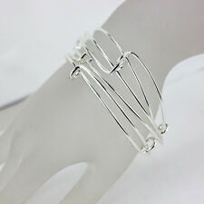10Pcs Expandable Silver Bangle Bracelet Wire Wrapped Adjustable Bulk Lot POP