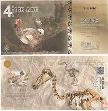 4 Ice Age Dollars 2015 NEW SPECIMEN Fantasy Banknote - Dodo
