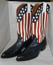 Vintage mens western boots leather american flag color 11 ½D Montana pointed toe