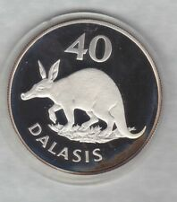 1977 REPUBLIC OF THE GAMBIA SILVER PROOF 40 DALASIS IN A CAPSULE.