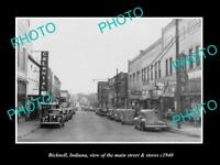OLD HISTORIC PHOTO OF BICKNELL INDIANA, VIEW OF THE MAIN STREET & STORES c1940