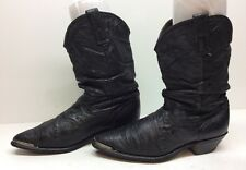 WOMENS UNBRANDED TOE RAND COWBOY LEATHER BLACK BOOTS SIZE 8.5 M