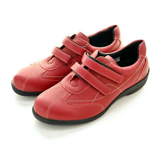 Easy B Casual Red Leather Shoes Hook & Loop Size EUR 39 / AU 8 - Excellent!