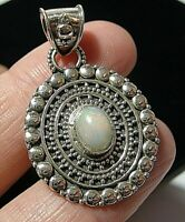 Beautiful STERLING SILVER Real Fire OPAL Gem Stone Necklace PENDANT (large)