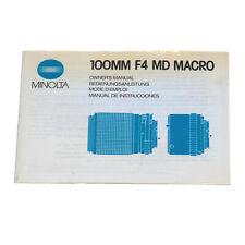 Minolta MD 100mm 1:4,0 Macro Bedienungsanleitung/Instruction Manual vom Händler