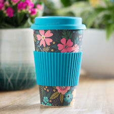 Blue Floral Bamboo Fibre Travel Mug 450ml Reusable Hot Drink Cup Tea Coffee Gift