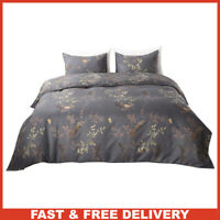 King Size Duvet Cover Set Blue Grey Golden Floral Non-Iron Microfiber Durable