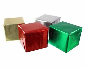 """Metallic Wrapping Paper - 30"""" x 300"""" JUMBO Rolls - 4 Rolls Silver Gold Red Green"""