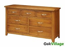 Large Oak 7 Drawer Chest of Drawers / 3 Over 4 / Multi Chest / Bedroom Wessex