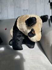 More details for vintage merrythought? mohair? straw and metal panda bear pyjama/ nightdress case