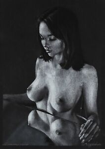 original drawing A3 86ShN art by samovar Female portrait pastel woman signed
