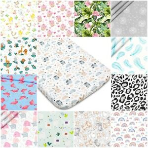 COT FITTED SHEET PATTERNED 100% cotton BED COVER 60x120 70x140  jungle flowers