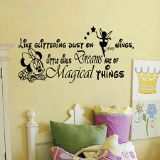 Little Girls Dreams Letter Minnie Mouse Wall Stickers Girls Room Decor Decal Art